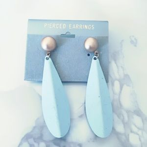 Blue Metal Vintage Earrings Statement Tear…